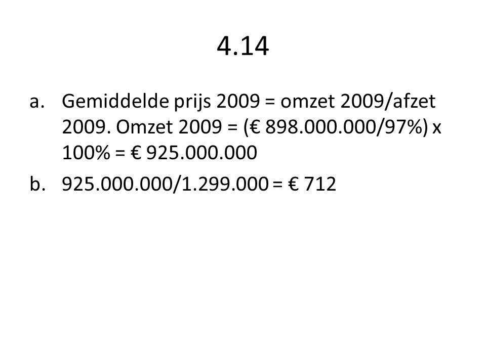 4.14 Gemiddelde prijs 2009 = omzet 2009/afzet 2009. Omzet 2009 = (€ 898.000.000/97%) x 100% = € 925.000.000.