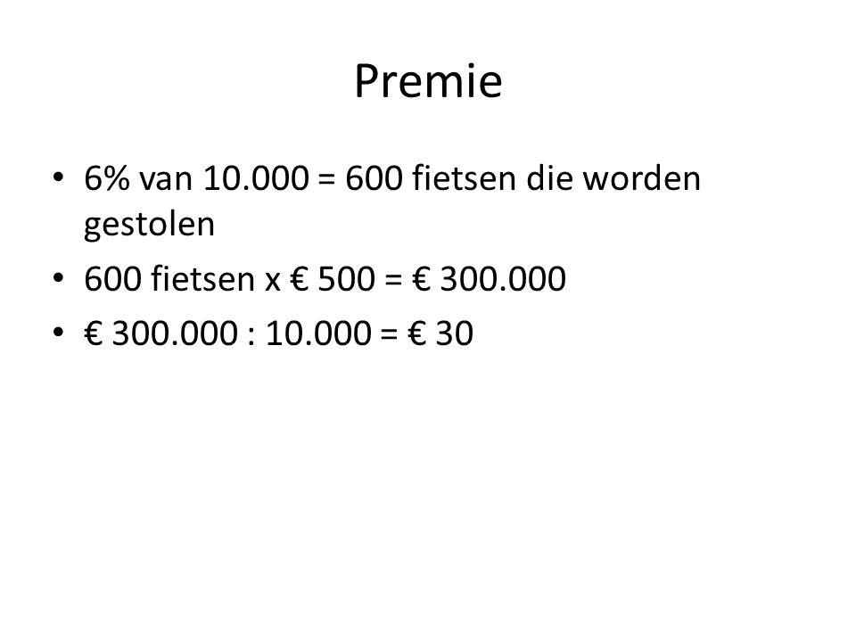 Premie 6% van 10.000 = 600 fietsen die worden gestolen