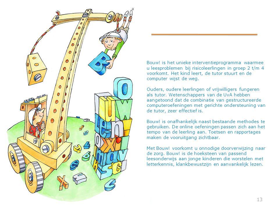Bouw! is het unieke interventieprogramma waarmee u leesproblemen bij risicoleerlingen in groep 2 t/m 4 voorkomt. Het kind leert, de tutor stuurt en de computer wijst de weg.