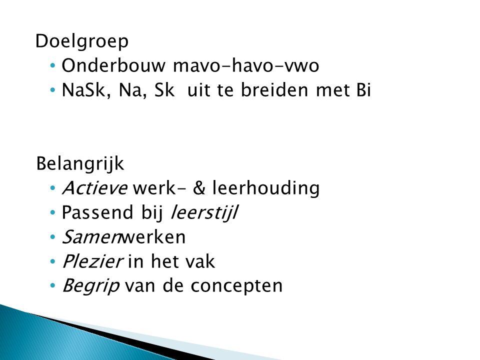 Doelgroep Onderbouw mavo-havo-vwo. NaSk, Na, Sk uit te breiden met Bi. Belangrijk. Actieve werk- & leerhouding.