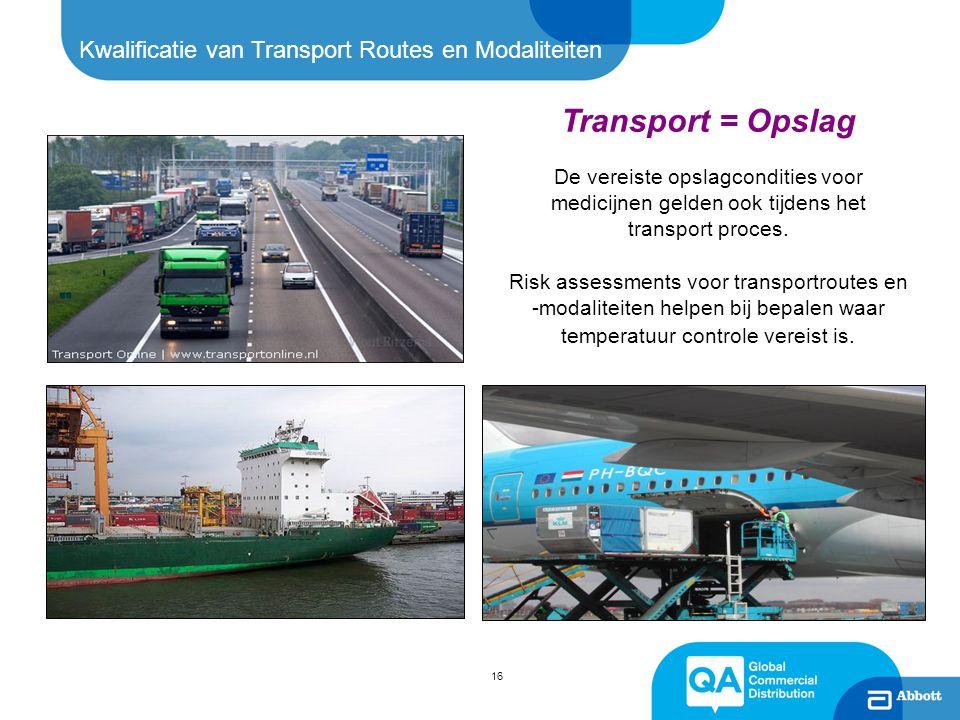 Kwalificatie van Transport Routes en Modaliteiten