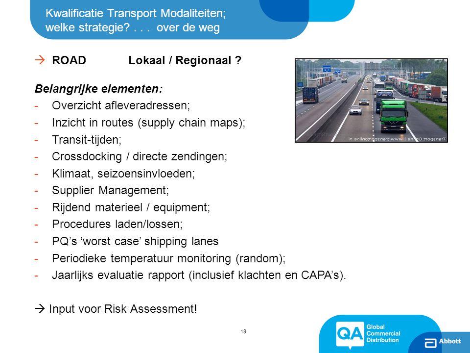 ROAD Lokaal / Regionaal Belangrijke elementen: