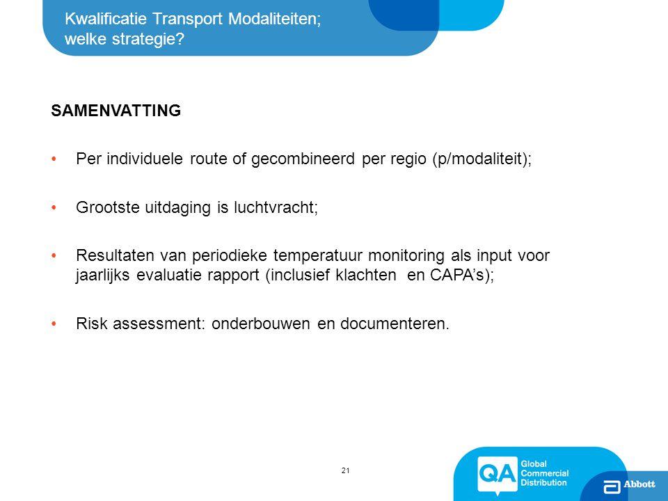 Kwalificatie Transport Modaliteiten; welke strategie