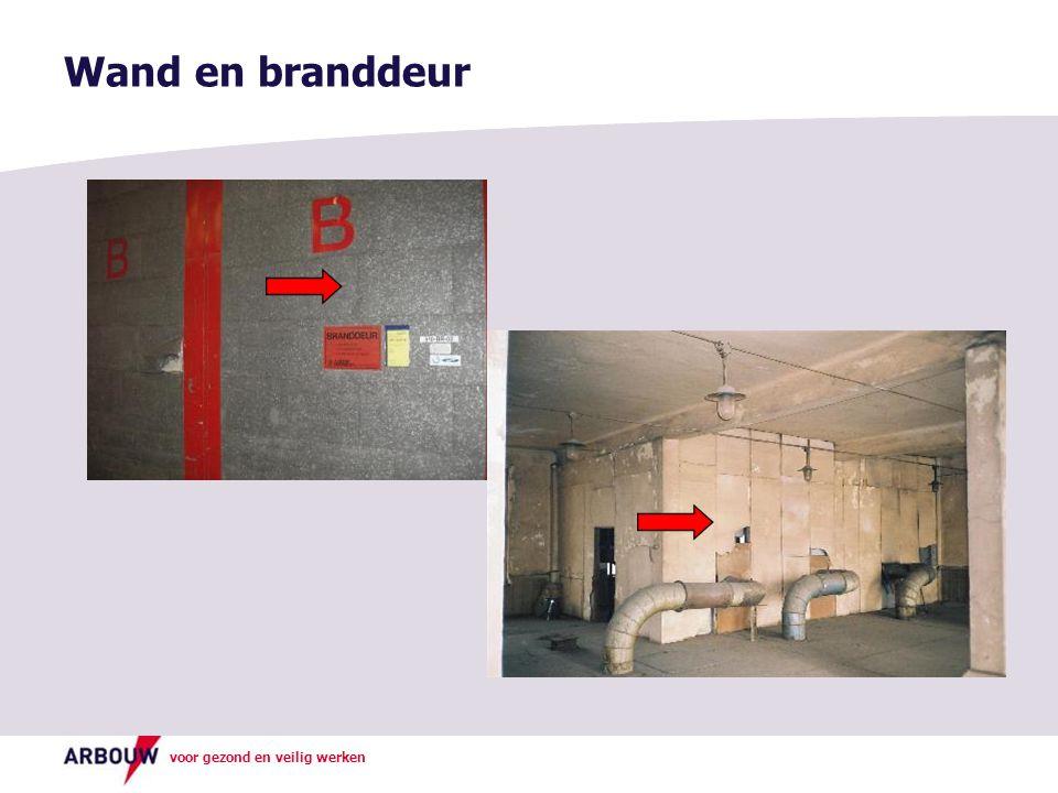 Wand en branddeur Foto boven: Asbest verwerkt als isolatiemateriaal in een brandwerende deur.