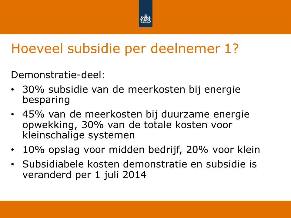 Hoeveel subsidie per deelnemer 1