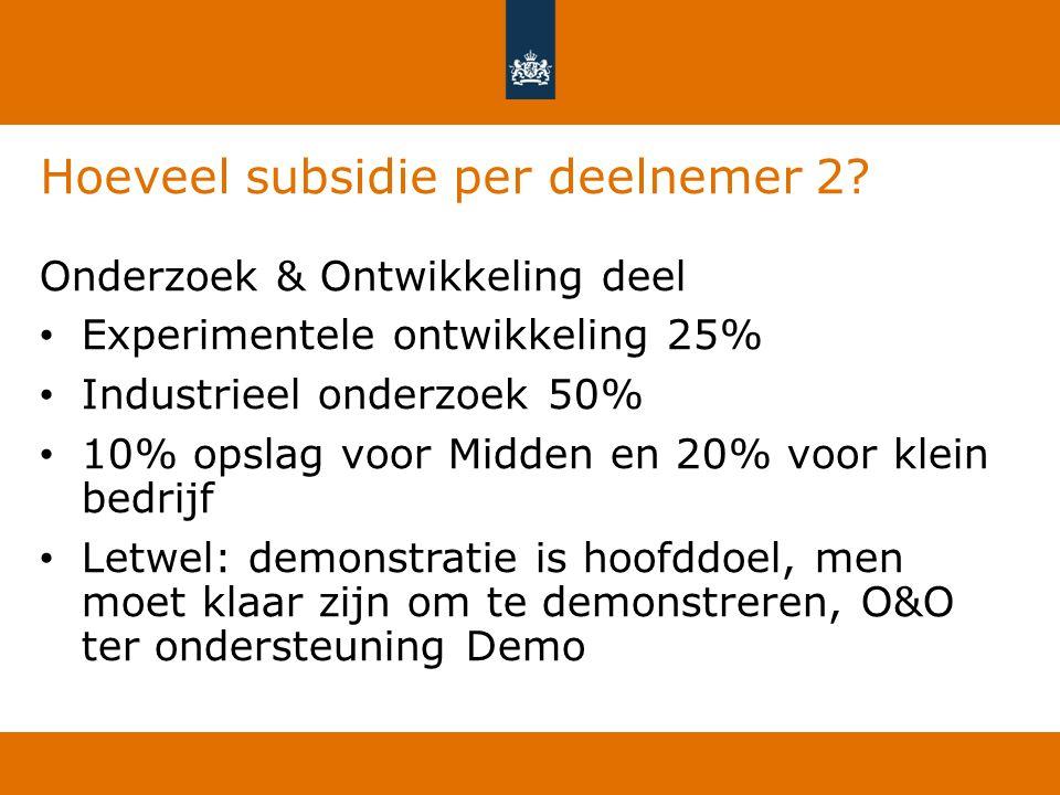 Hoeveel subsidie per deelnemer 2