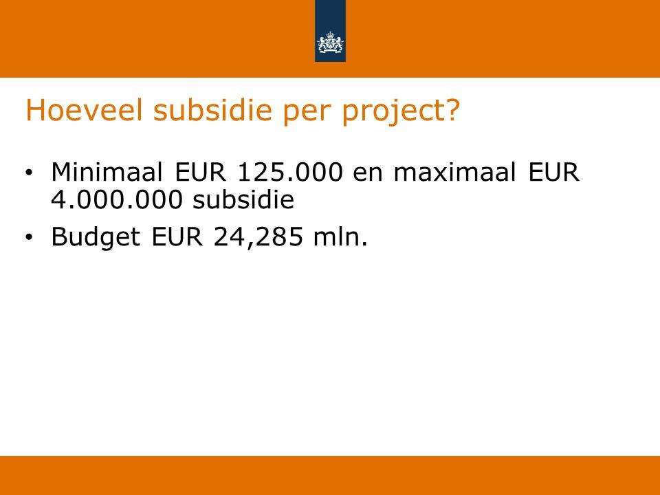 Hoeveel subsidie per project
