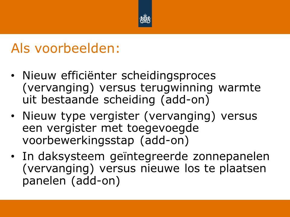 Als voorbeelden: Nieuw efficiënter scheidingsproces (vervanging) versus terugwinning warmte uit bestaande scheiding (add-on)