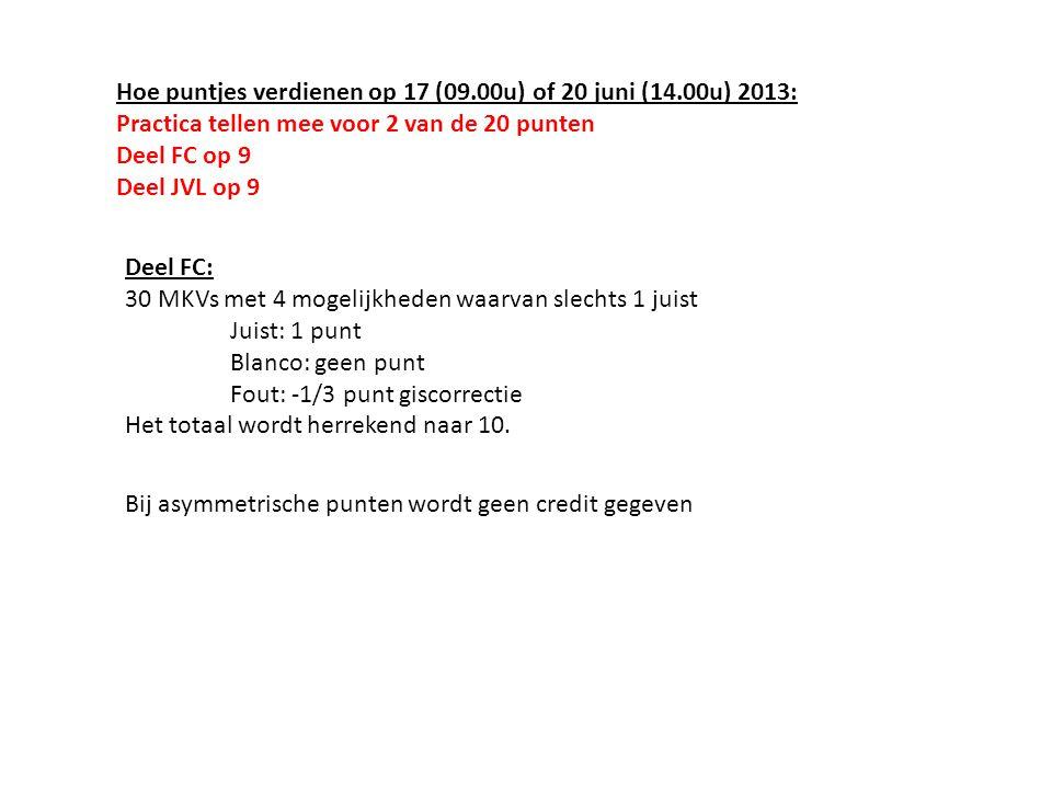 Hoe puntjes verdienen op 17 (09.00u) of 20 juni (14.00u) 2013: