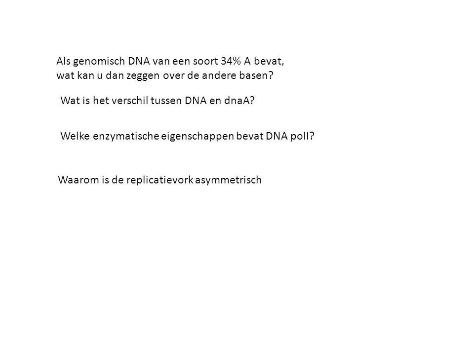 Als genomisch DNA van een soort 34% A bevat,