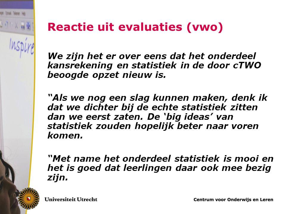 Reactie uit evaluaties (vwo)