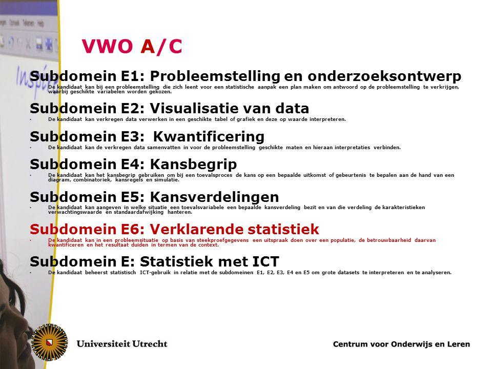 VWO A/C Subdomein E1: Probleemstelling en onderzoeksontwerp