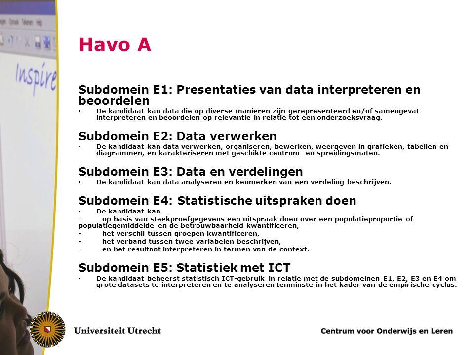 Havo A Subdomein E1: Presentaties van data interpreteren en beoordelen