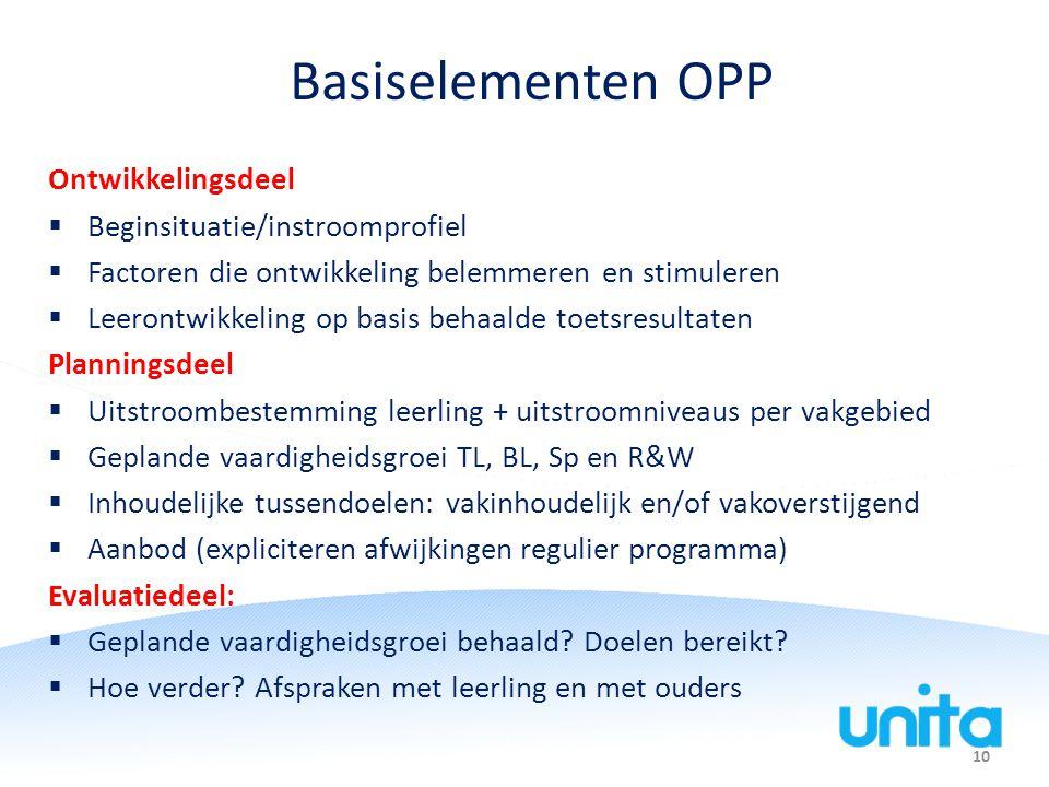Basiselementen OPP Ontwikkelingsdeel Beginsituatie/instroomprofiel