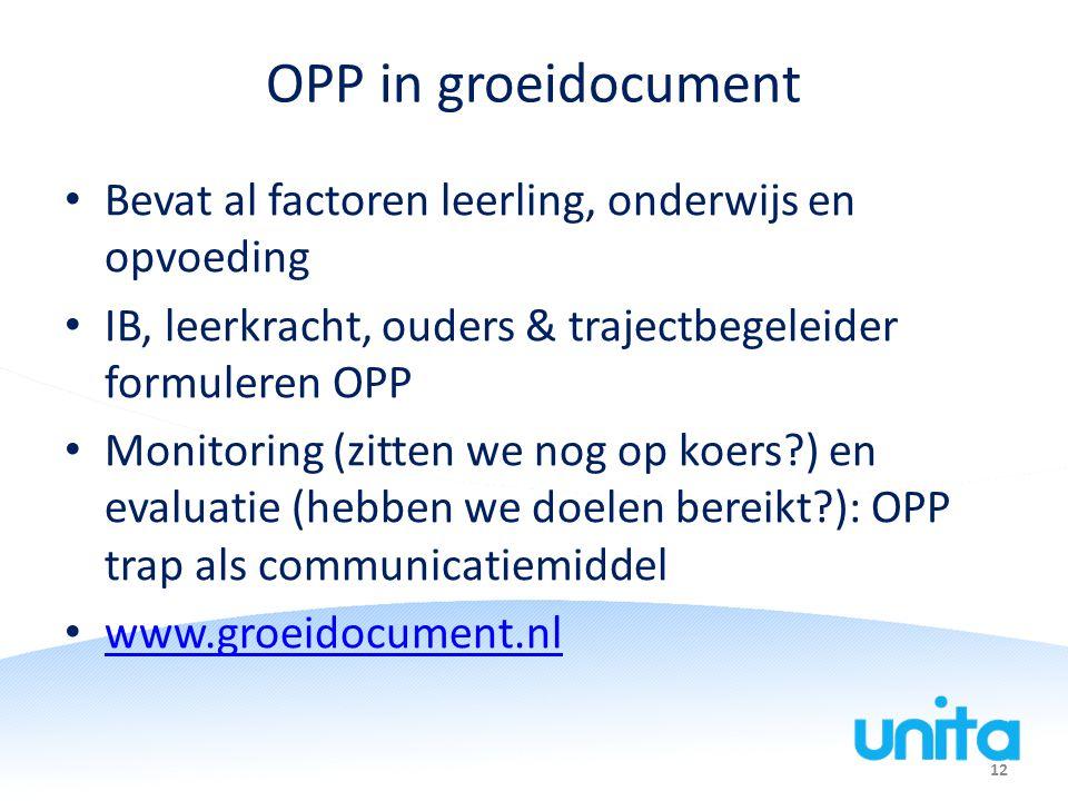 OPP in groeidocument Bevat al factoren leerling, onderwijs en opvoeding. IB, leerkracht, ouders & trajectbegeleider formuleren OPP.
