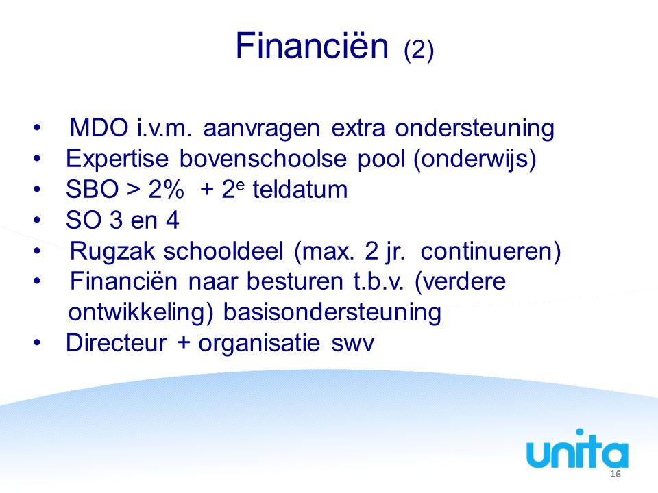 Financiën (2) MDO i.v.m. aanvragen extra ondersteuning