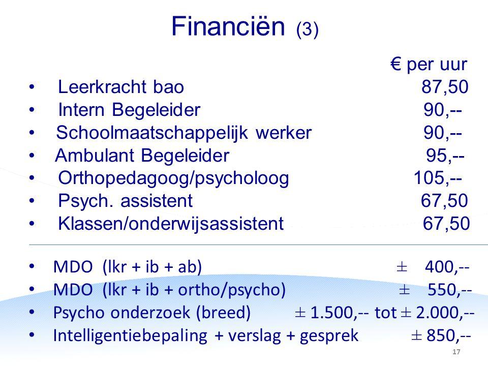 Financiën (3) € per uur Leerkracht bao 87,50 Intern Begeleider 90,--