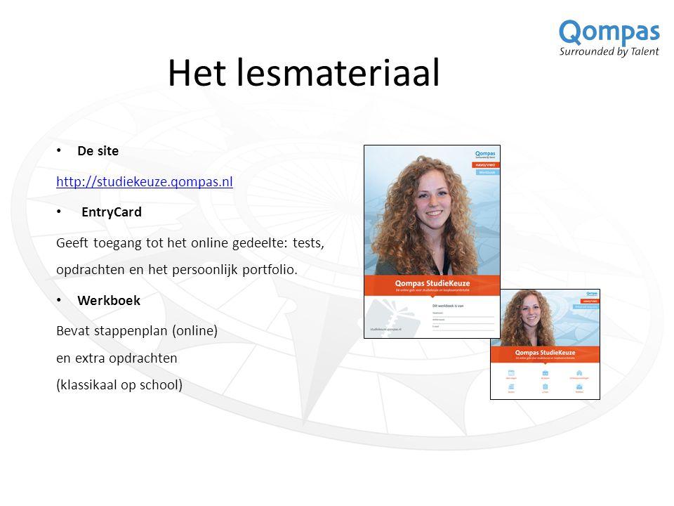 Het lesmateriaal De site http://studiekeuze.qompas.nl EntryCard