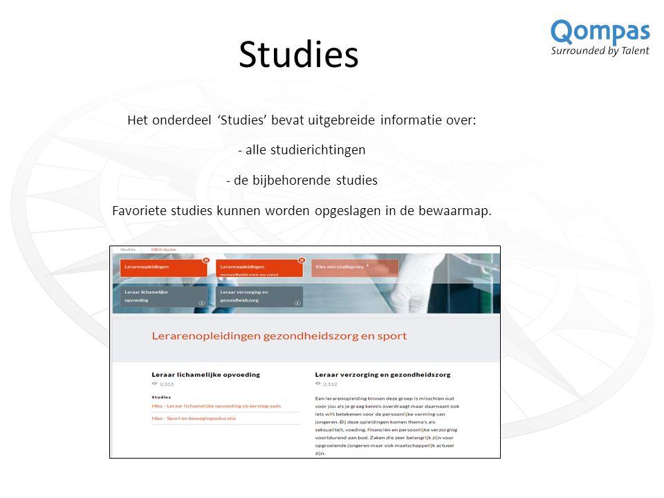 Studies Het onderdeel 'Studies' bevat uitgebreide informatie over: