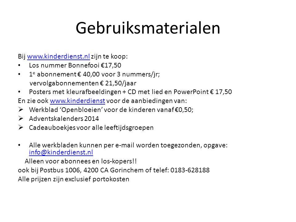 Gebruiksmaterialen Bij www.kinderdienst.nl zijn te koop: