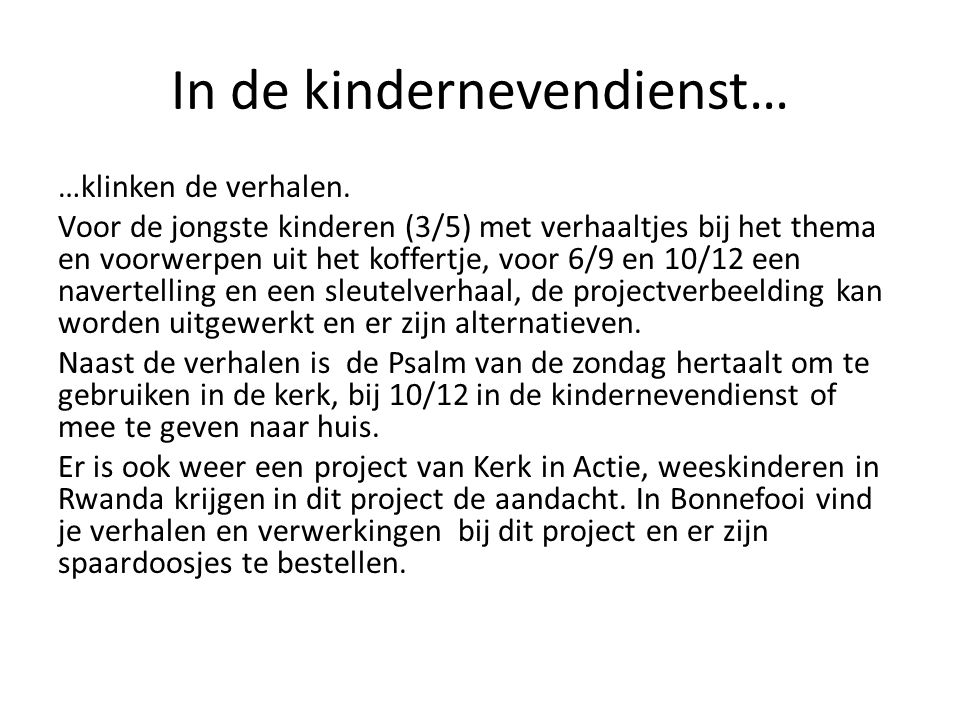 In de kindernevendienst…