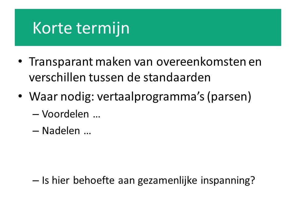 Korte termijn Transparant maken van overeenkomsten en verschillen tussen de standaarden. Waar nodig: vertaalprogramma's (parsen)