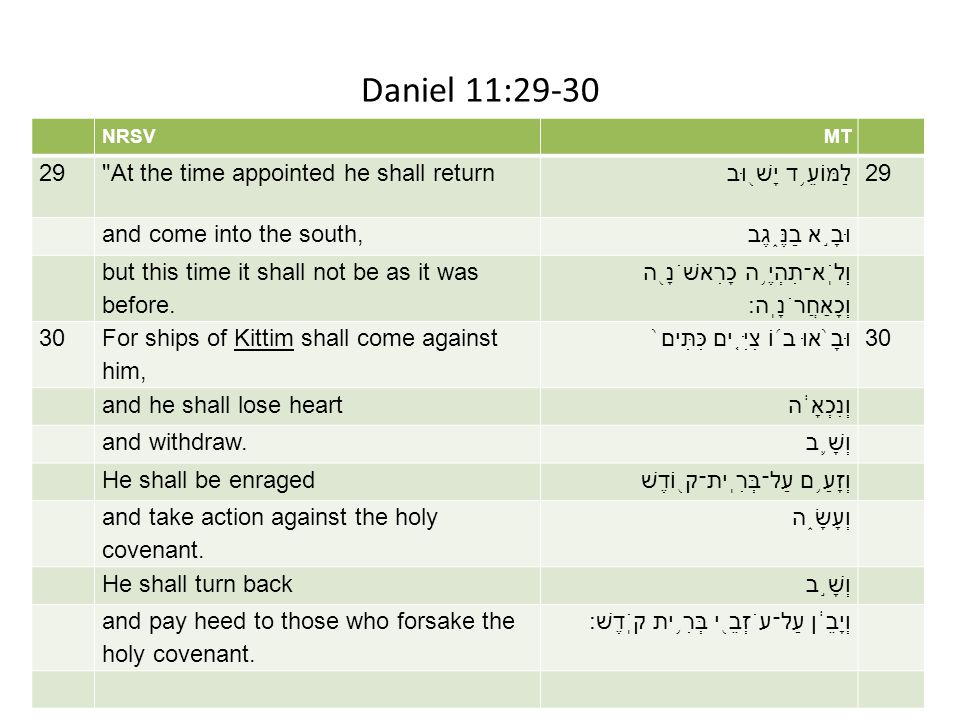 Daniel 11:29-30 nrsv mt 29 At the time appointed he shall return