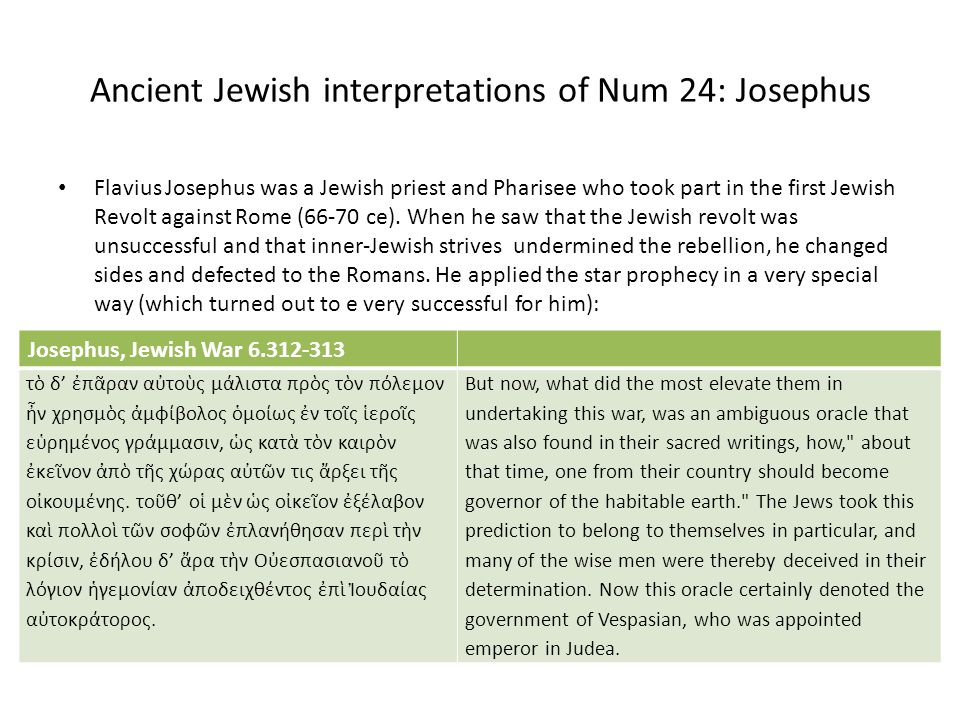 Ancient Jewish interpretations of Num 24: Josephus