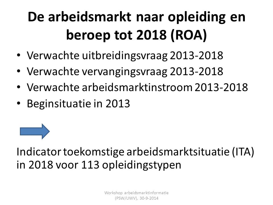 De arbeidsmarkt naar opleiding en beroep tot 2018 (ROA)