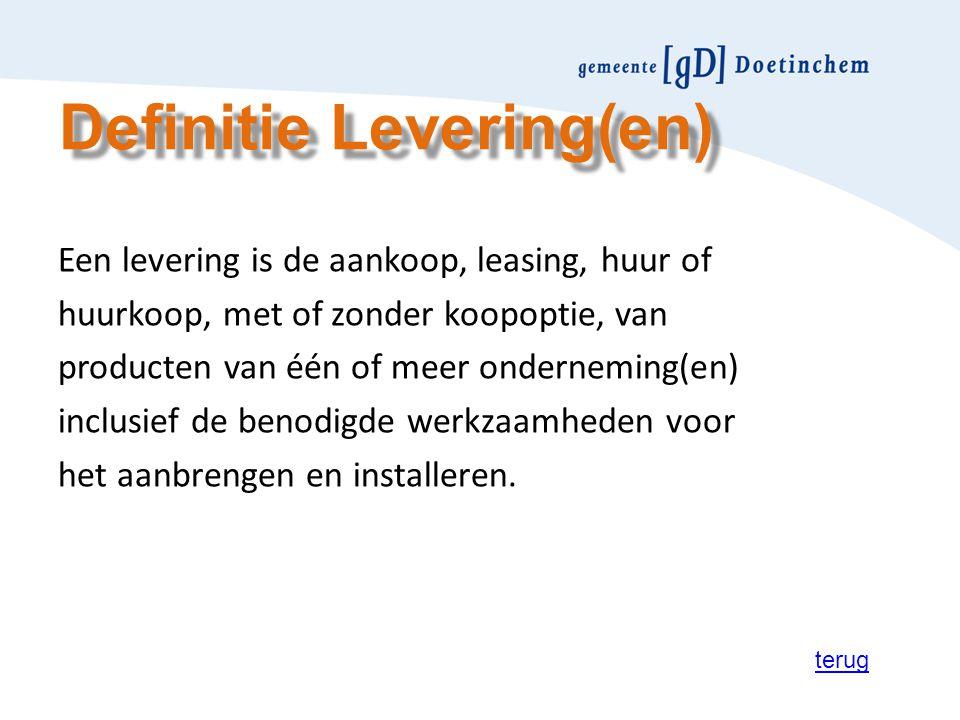 Definitie Levering(en)