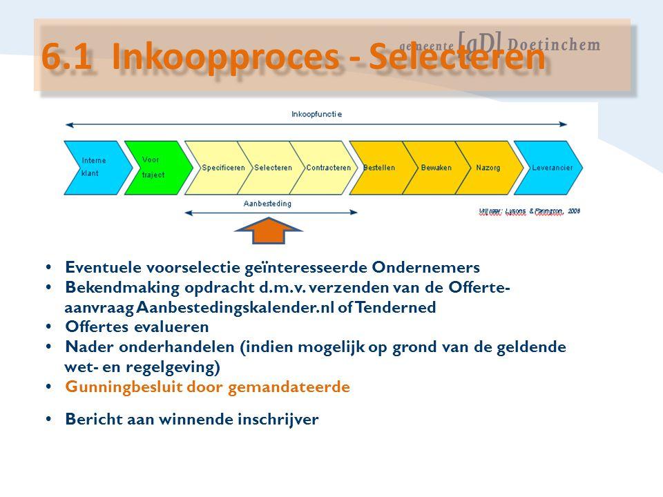 6.1 Inkoopproces - Selecteren
