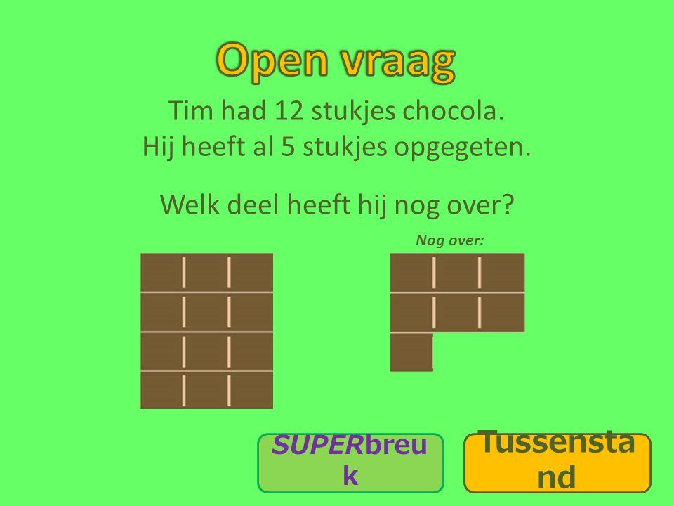 Open vraag Tim had 12 stukjes chocola. Hij heeft al 5 stukjes opgegeten. Welk deel heeft hij nog over