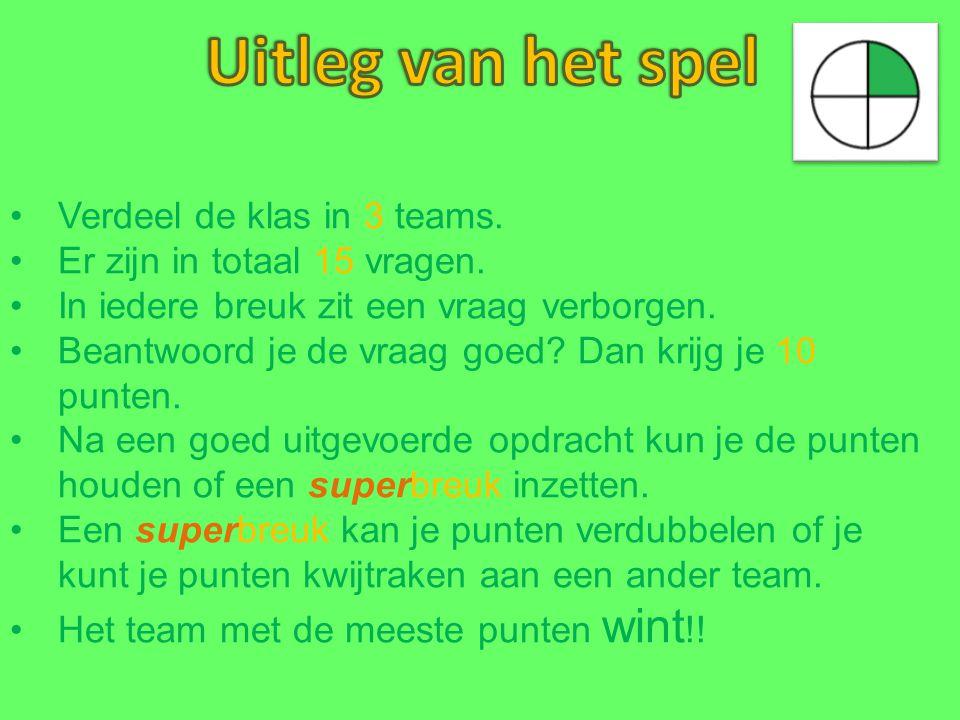 Uitleg van het spel Verdeel de klas in 3 teams.