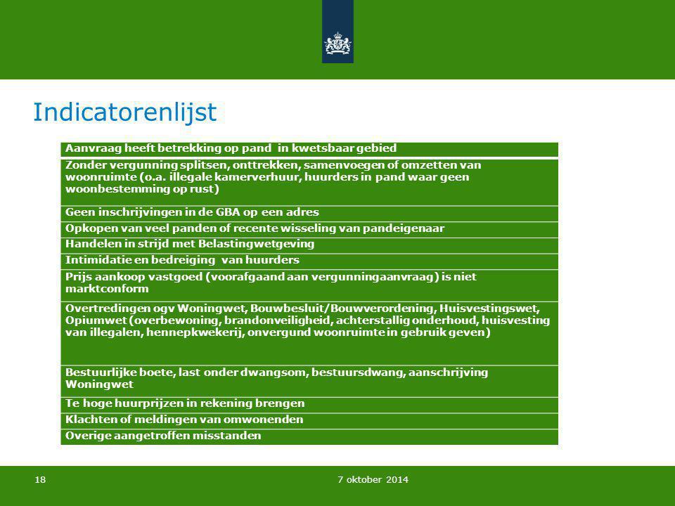 Indicatorenlijst Landelijk Bureau Bibob | 7 oktober 2014