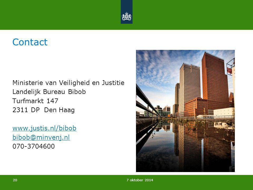 Contact Ministerie van Veiligheid en Justitie Landelijk Bureau Bibob Turfmarkt 147 2311 DP Den Haag www.justis.nl/bibob bibob@minvenj.nl 070-3704600