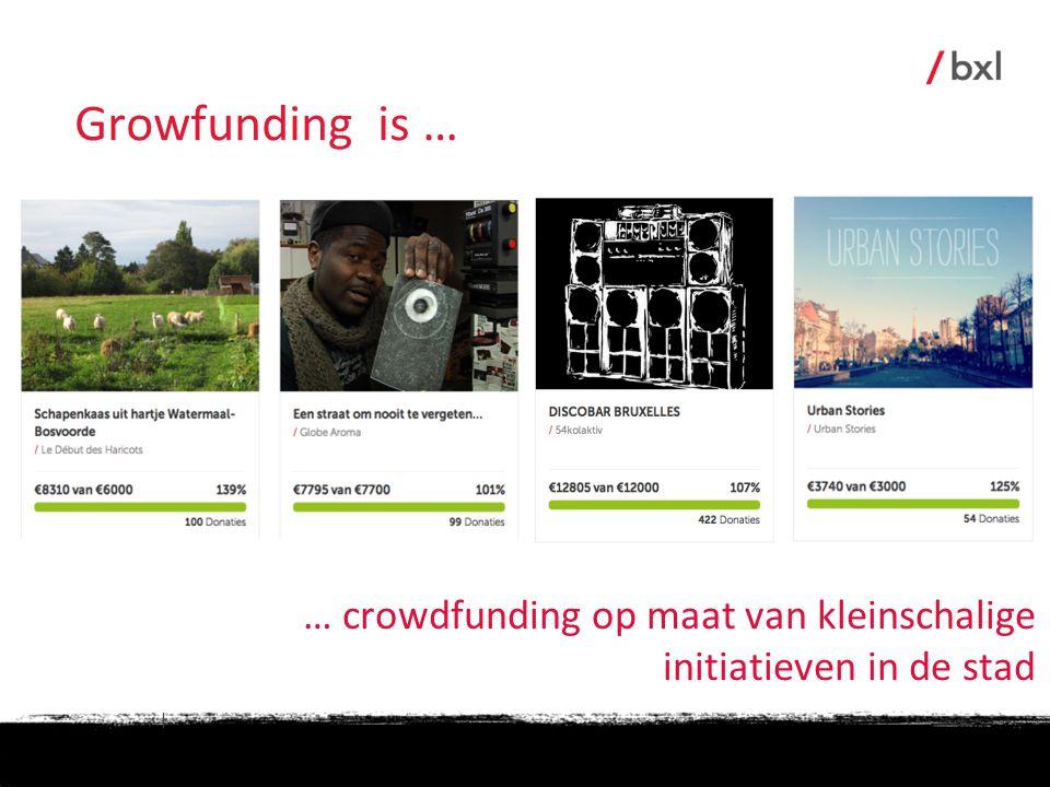Growfunding is … … crowdfunding op maat van kleinschalige initiatieven in de stad