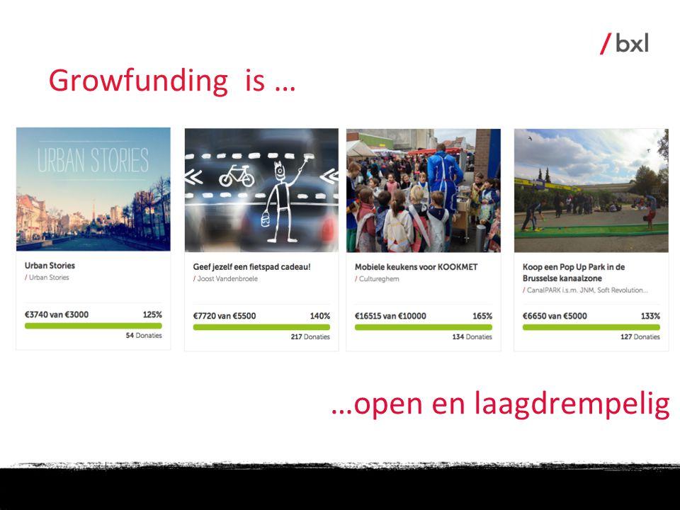 Growfunding is … …open en laagdrempelig