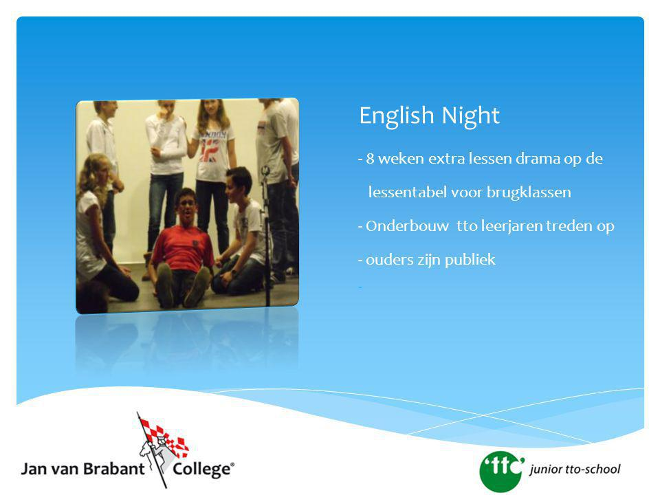 English Night - 8 weken extra lessen drama op de