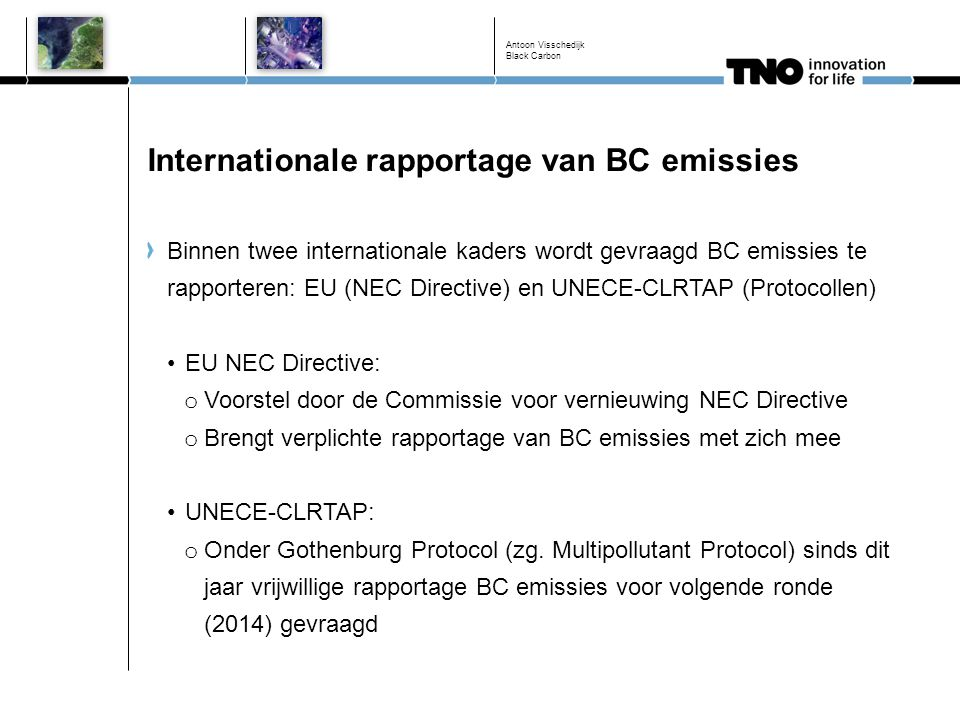 Internationale rapportage van BC emissies
