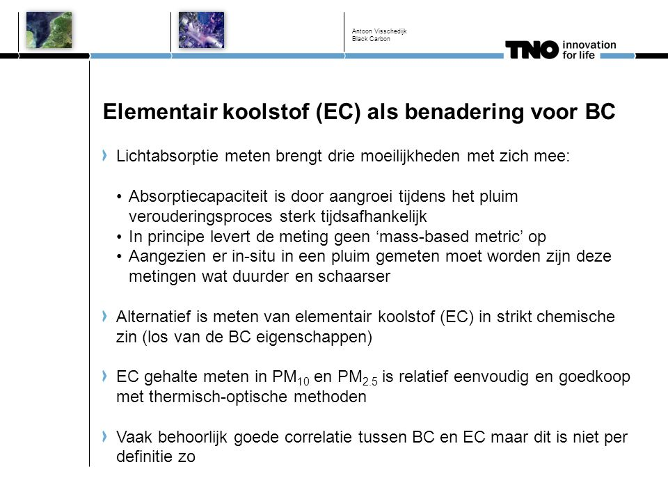 Elementair koolstof (EC) als benadering voor BC