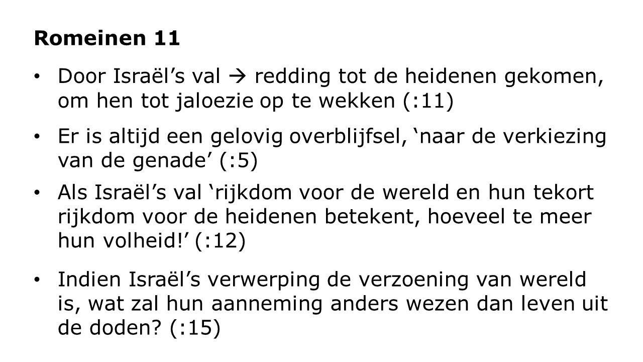 Romeinen 11 Door Israël's val  redding tot de heidenen gekomen, om hen tot jaloezie op te wekken (:11)