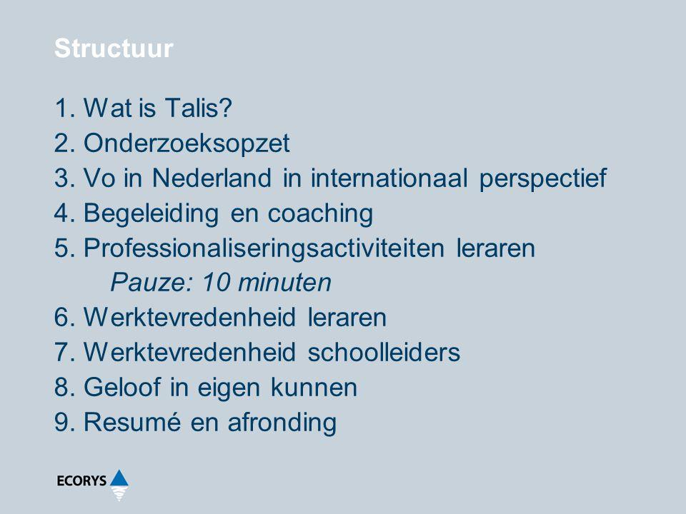 Structuur Wat is Talis Onderzoeksopzet. Vo in Nederland in internationaal perspectief. Begeleiding en coaching.