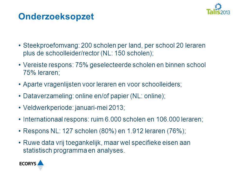 Onderzoeksopzet Steekproefomvang: 200 scholen per land, per school 20 leraren plus de schoolleider/rector (NL: 150 scholen);