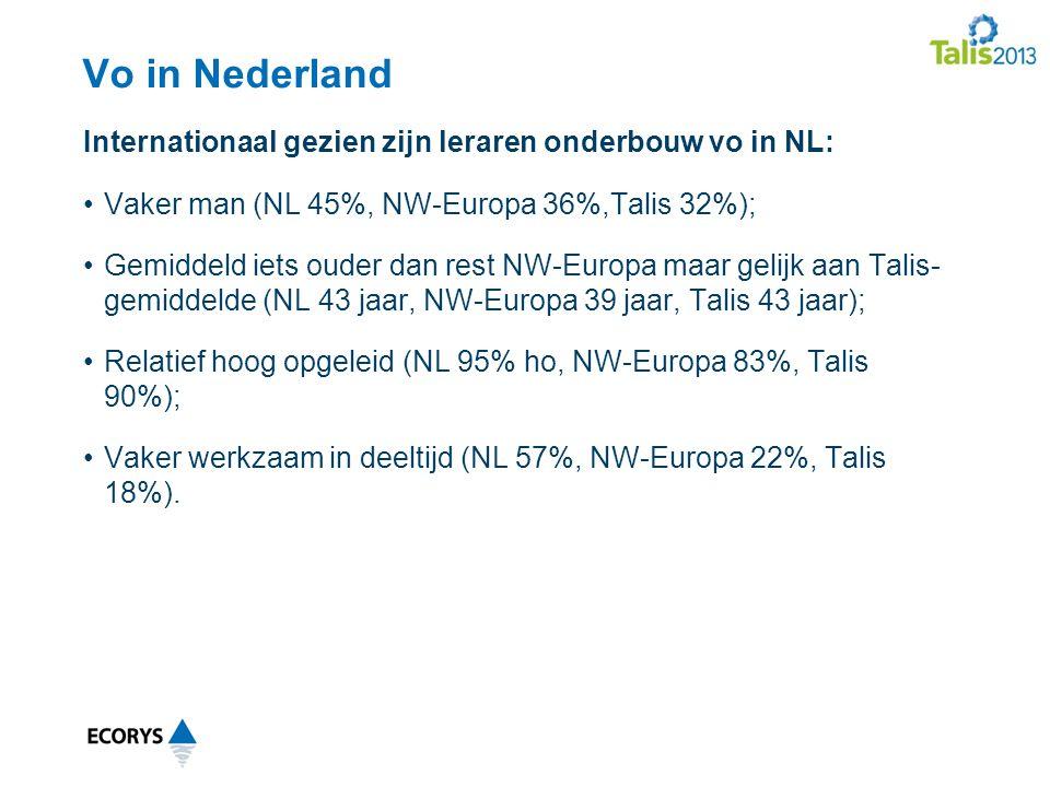 Internationaal gezien zijn leraren onderbouw vo in NL: