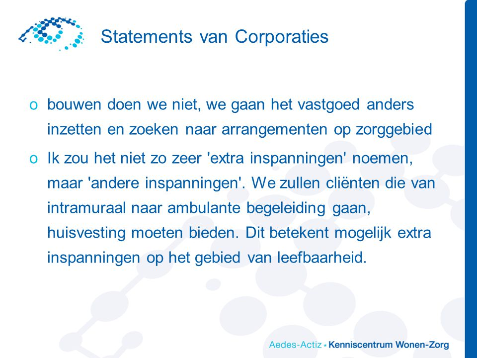 Statements van Corporaties