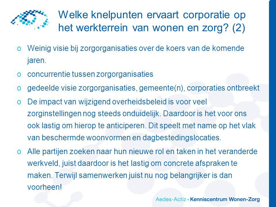 Welke knelpunten ervaart corporatie op het werkterrein van wonen en zorg (2)