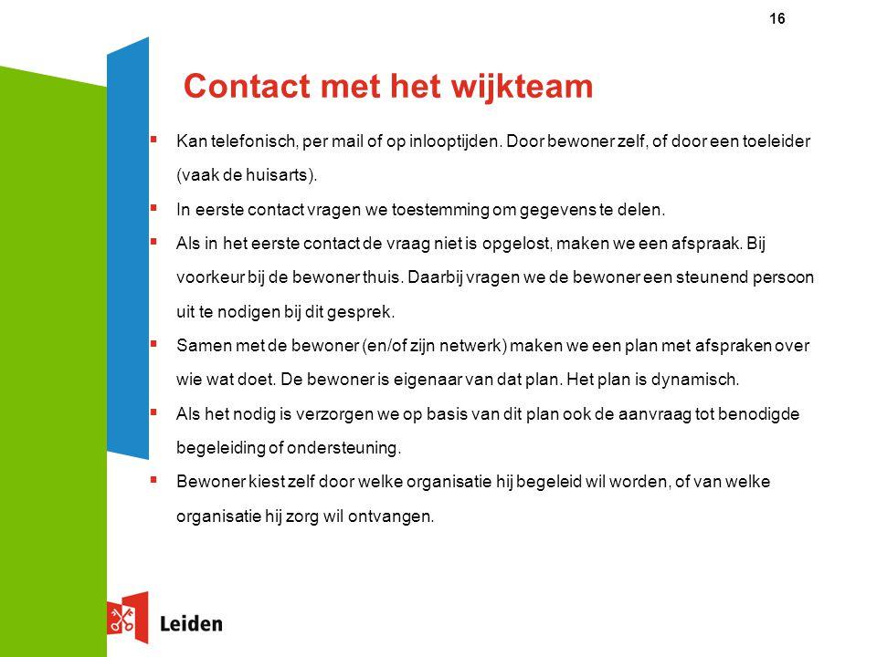 Contact met het wijkteam