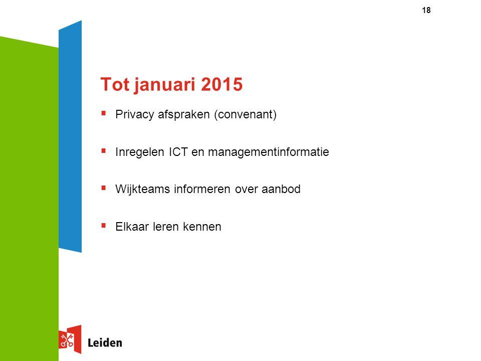 Tot januari 2015 Privacy afspraken (convenant)