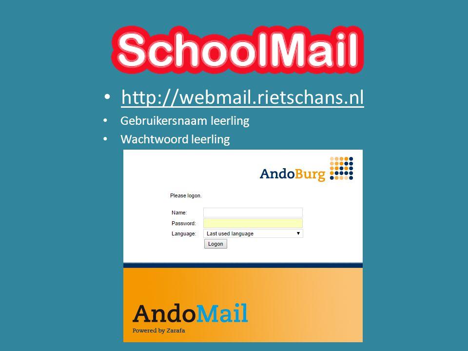 http://webmail.rietschans.nl Gebruikersnaam leerling