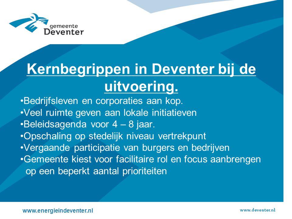 Kernbegrippen in Deventer bij de uitvoering.
